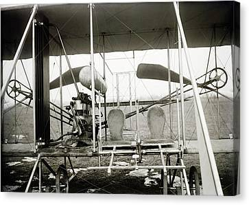 Wright Biplane Engine And Seats Canvas Print by Library Of Congress