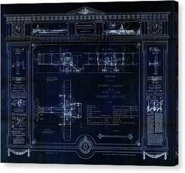 Wright Bros 'roadster' Biplane Blueprint - 1908 Canvas Print by Daniel Hagerman