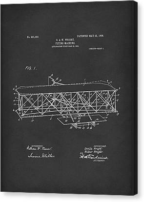 Wright Brothers Flying Machine 1906 Patent Art Black Canvas Print by Prior Art Design