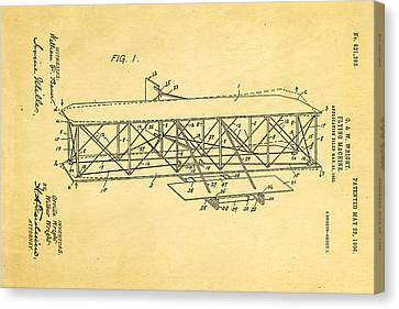 Wright Brothers Flying Machine Patent Art 1906 Canvas Print by Ian Monk