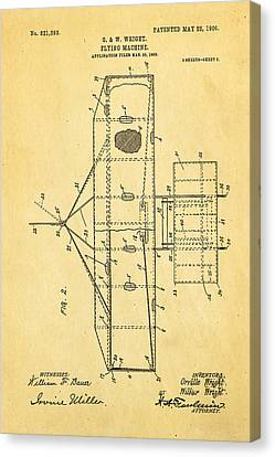 Wright Brothers Flying Machine Patent Art 2 1906 Canvas Print by Ian Monk