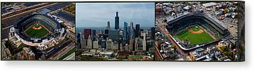 Wrigley And Us Cellular Fields Chicago Baseball Parks 3 Panel Composite 01 Canvas Print by Thomas Woolworth