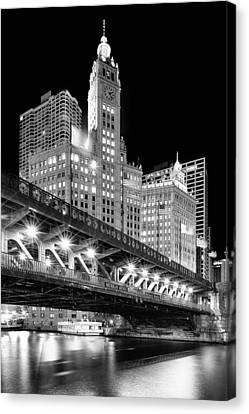 Wrigley Building At Night In Black And White Canvas Print by Sebastian Musial