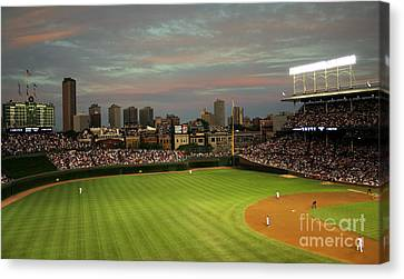 Wrigley Field At Dusk Canvas Print by John Gaffen