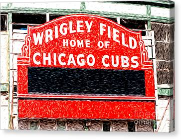 Wrigley Field Chicago Cubs Sign Digital Painting Canvas Print by Paul Velgos