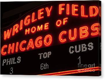 Wrigley Field Sign At Night Canvas Print by Paul Velgos