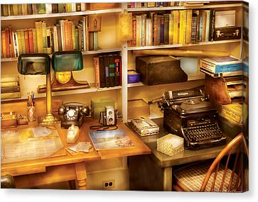 Writer - The Desk Of A Writer  Canvas Print by Mike Savad