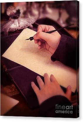 Writing A Letter In Times Past Canvas Print by Jill Battaglia