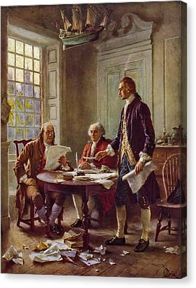 Writing The Declaration Of Independence 1776 Canvas Print by DC Photographer