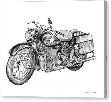 Ww2 Military Motorcycle Canvas Print by Greg Joens