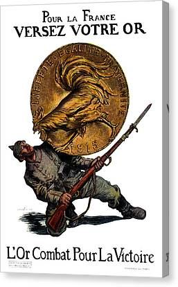 Wwi Gold For French Victory Canvas Print by Historic Image