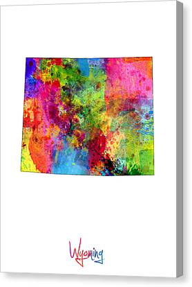 Wyoming Map Canvas Print by Michael Tompsett