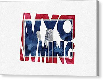 Wyoming Typographic Map Flag Canvas Print by Ayse Deniz