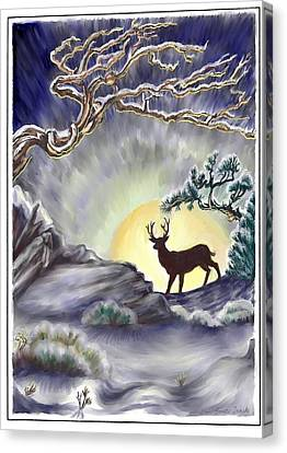 Wyoming Winter Moonrise Canvas Print by Dawn Senior-Trask