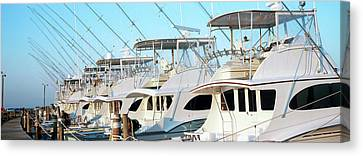 Yacht Charter Boats At A Harbor, Oregon Canvas Print by Panoramic Images