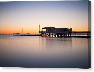 Yacht Club At Sunrise Canvas Print by Lee Costa
