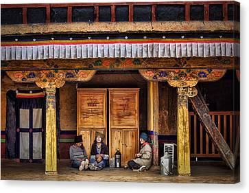 Yak Butter Tea Break At The Potala Palace Canvas Print by Joan Carroll
