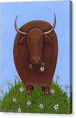 Whimsical Yak Painting Canvas Print by Christy Beckwith