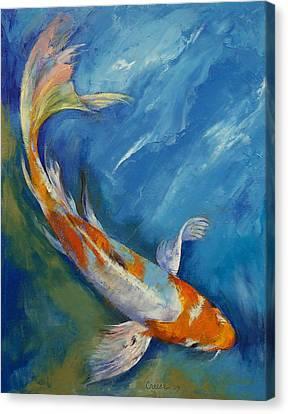 Yamato Nishiki Koi Canvas Print by Michael Creese