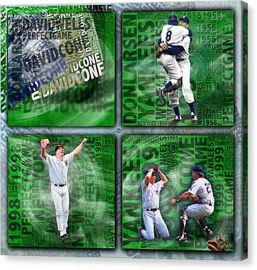 Yankees Perfect Game Combo Larsen Wells Cone Canvas Print by Tony Rubino