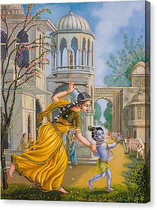 Yashoda Chasing Baby Krishna Canvas Print by Dominique Amendola