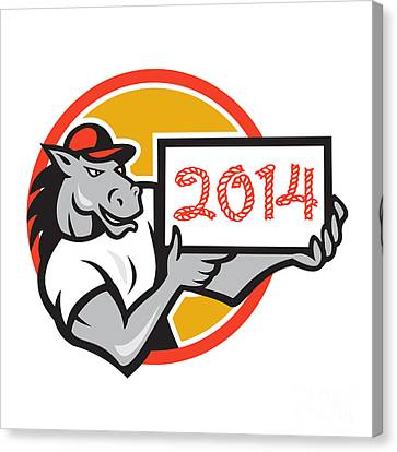 Year Of Horse 2014 Showing Sign Cartoon Canvas Print by Aloysius Patrimonio