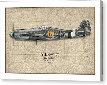 Yellow 10 Focke-wulf Fw190d - Map Background Canvas Print by Craig Tinder