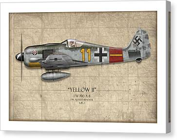 Yellow 11 Focke-wulf Fw 190 - Map Background Canvas Print by Craig Tinder