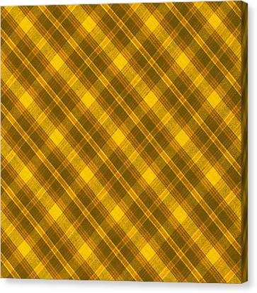 Yellow And Brown Diagonal Plaid Pattern Cloth Background Canvas Print by Keith Webber Jr