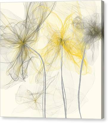 Yellow And Gray Flowers Impressionist Canvas Print by Lourry Legarde