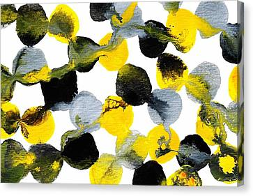Yellow And Gray Interactions 6 Canvas Print by Amy Vangsgard