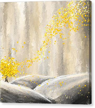 Yellow And Gray Landscape Canvas Print by Lourry Legarde