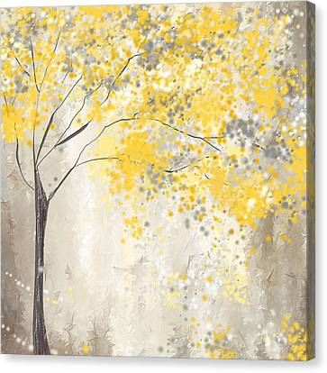 Yellow And Gray Tree Canvas Print by Lourry Legarde
