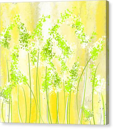 Yellow And Green Art Canvas Print by Lourry Legarde