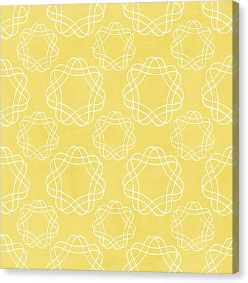 Yellow And White Geometric Floral  Canvas Print by Linda Woods