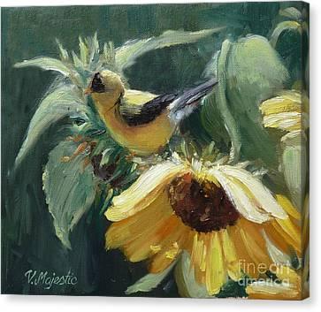 Yellow Bird - Hooded Oriole Canvas Print by Viktoria K Majestic