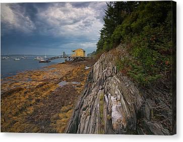 Yellow Boat House Canvas Print by Darylann Leonard Photography