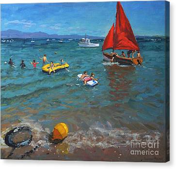 Yellow Buoy And Red Sails Canvas Print by Andrew Macara