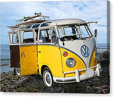 Yellow Bus At The Beach Canvas Print by Ron Regalado