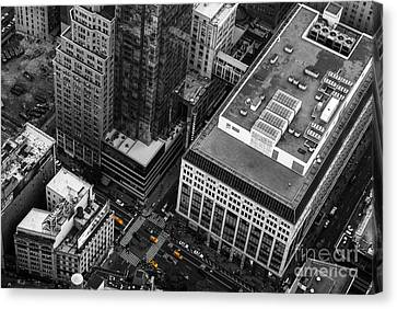 Yellow Cabs - Bird's Eye View Canvas Print by Hannes Cmarits