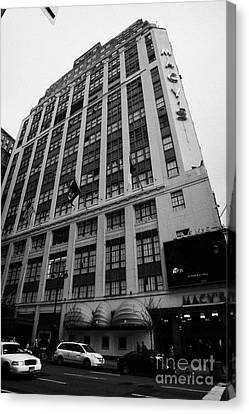 Yellow Cabs Outside Macys Department Store 7th Avenue And 34th Street Entrance New York Canvas Print by Joe Fox