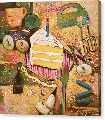 Yellow Cake Recipe Canvas Print by Jen Norton