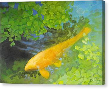 Yellow Carp In Green Canvas Print by Robert Conway