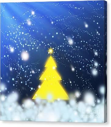 Yellow Christmas Tree Canvas Print by Atiketta Sangasaeng