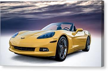 Yellow Corvette Convertible Canvas Print by Douglas Pittman