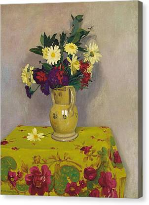 Yellow Daisies And Various Flowers Canvas Print by Felix Edouard Vallotton