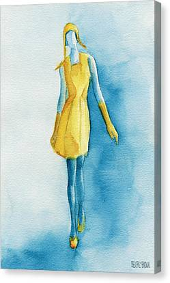 Yellow Ensemble - Watercolor Fashion Illustration Canvas Print by Beverly Brown Prints