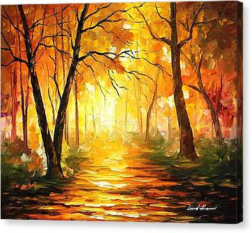 Yellow Fog 3 - Palette Knife Oil Painting On Canvas By Leonid Afremov Canvas Print by Leonid Afremov