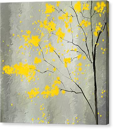 Yellow Foliage Impressionist Canvas Print by Lourry Legarde
