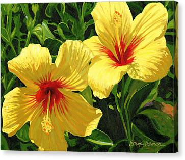 Yellow Hibiscus Canvas Print by Steve Simon
